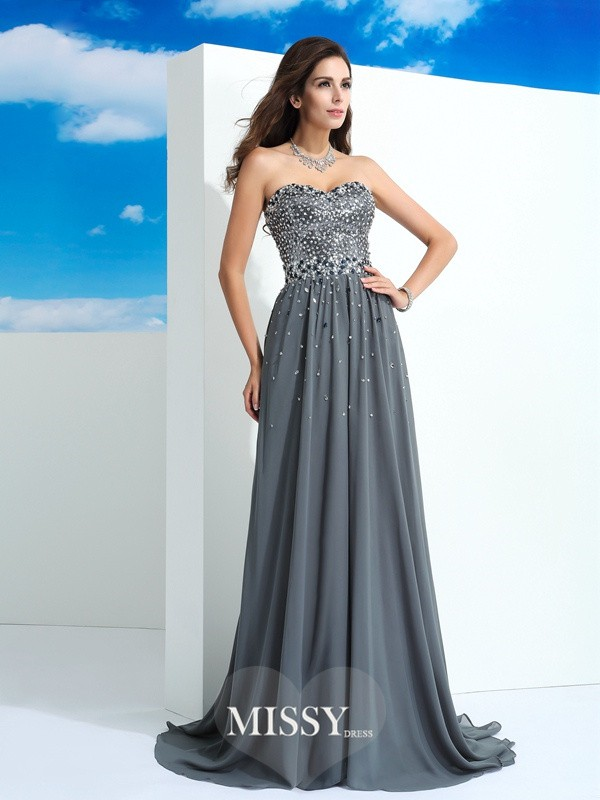 A-Line Sweetheart Sleeveless Beading Sweep Chiffon Dress