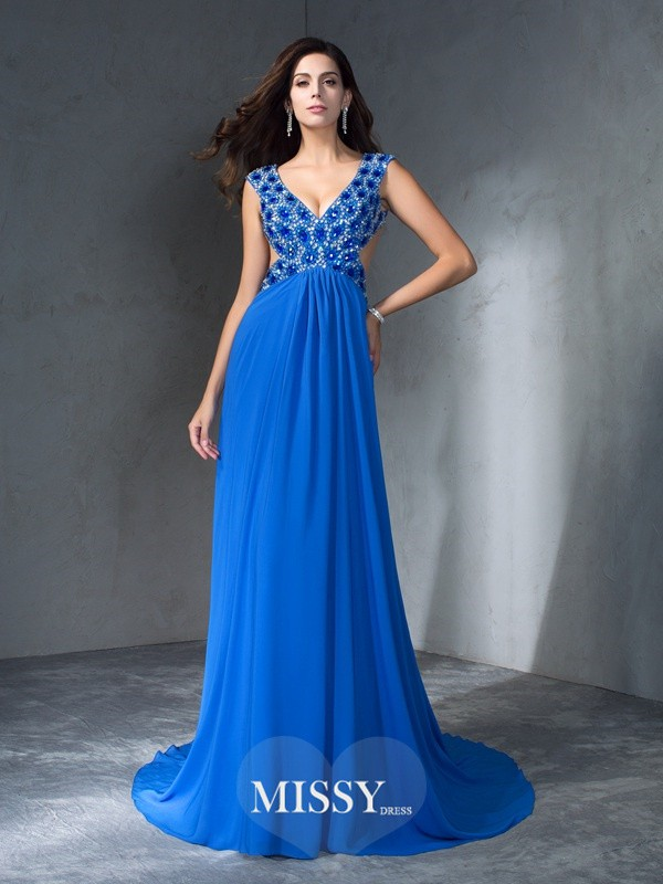 A-Line/Princess V-neck Sleeveless Sequin Sweep/Brush Train Chiffon Dress
