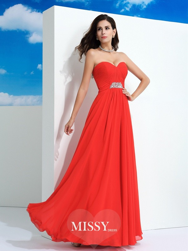 A-Line/Princess Sweetheart Sleeveless Floor-Length Beading Chiffon Dress