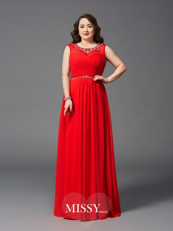 A-Line/Princess Scoop Sleeveless Beading Floor-Length Chiffon Full Size Dresses