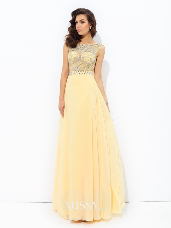 A-Line/Princess Sleeveless Bateau Beading Chiffon Floor-Length Dress
