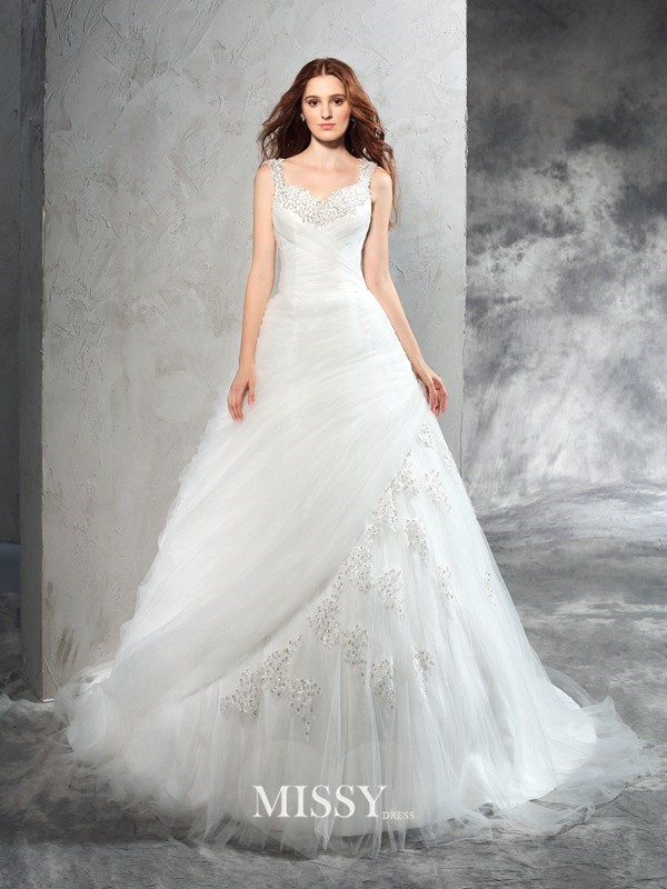 Ball Gown Straps Sleeveless Applique Court Train Net Wedding Dresses