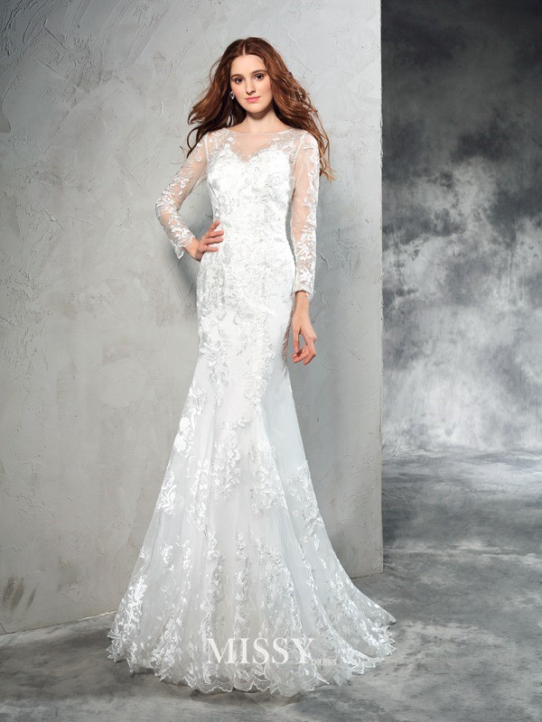 Column Sheer Neck Long Sleeves Lace Sweep/Brush Train Net Wedding Dresses