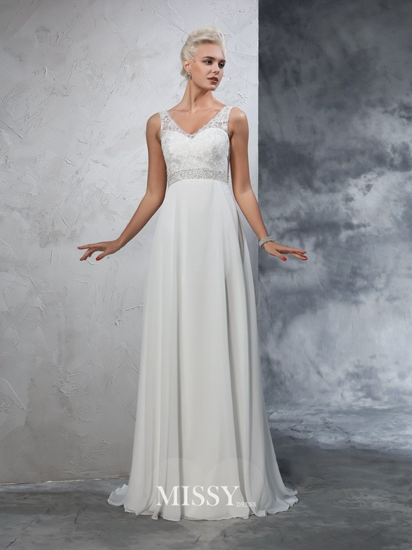 A-Line/Princess Sleeveless V-neck Chiffon Court Train Beading Bridal Wedding Dresses