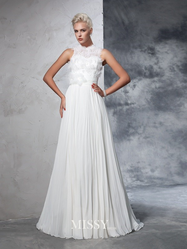 A-Line/Princess Sleeveless High Neck Chiffon Pleats Court Train Bridal Wedding Dresses