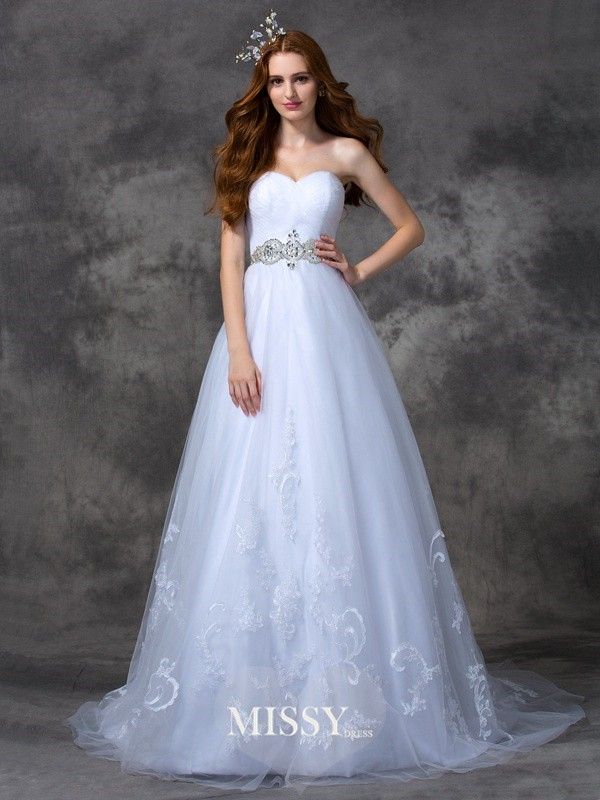 A-line/Princess Sweetheart Beading Sweep/Brush Train Satin Wedding Dresses