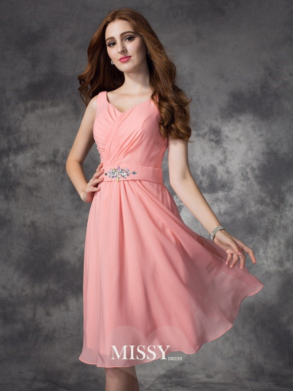 A-line/Princess Straps Sleeveless Knee-Length Chiffon Bridesmaid Dresses
