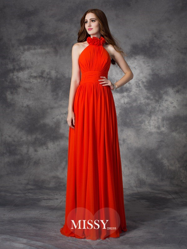 A-Line/Princess Halter Hand-Made Flower Floor-Length Chiffon Bridesmaid Dresses