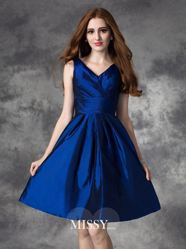 A-Line/Princess V-neck Sleeveless Ruched Short Taffeta Bridesmaid Dresses
