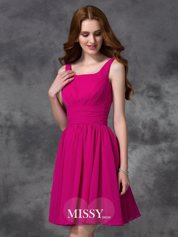 A-line/Princess Square Short/Mini Chiffon Bridesmaid Dresses
