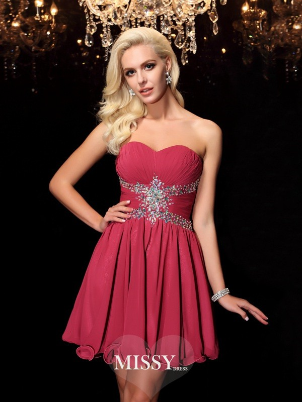 Princess Sweetheart Sleeveless Rhinestone Short/Mini Chiffon Dresses