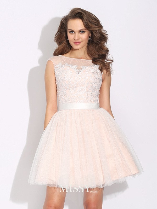 A-Line/Princess Bateau Short Sleeves Short/Mini Net Dresses