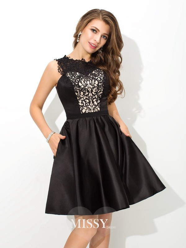 A-Line/Princess Scoop Sleeveless Lace Short Satin Cocktail Dresses