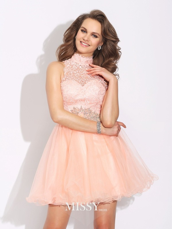 A-Line/Princess Sleeveless High Neck Beading Short Net Dresses
