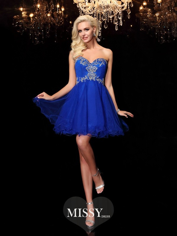 A-line/Princess Sweetheart Beading Short/Mini Net Dresses