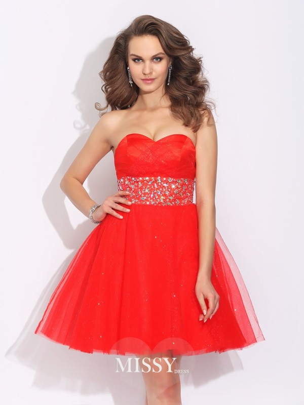 A-Line/Princess Sweetheart Rhinestone Sleeveless Short Net Dresses