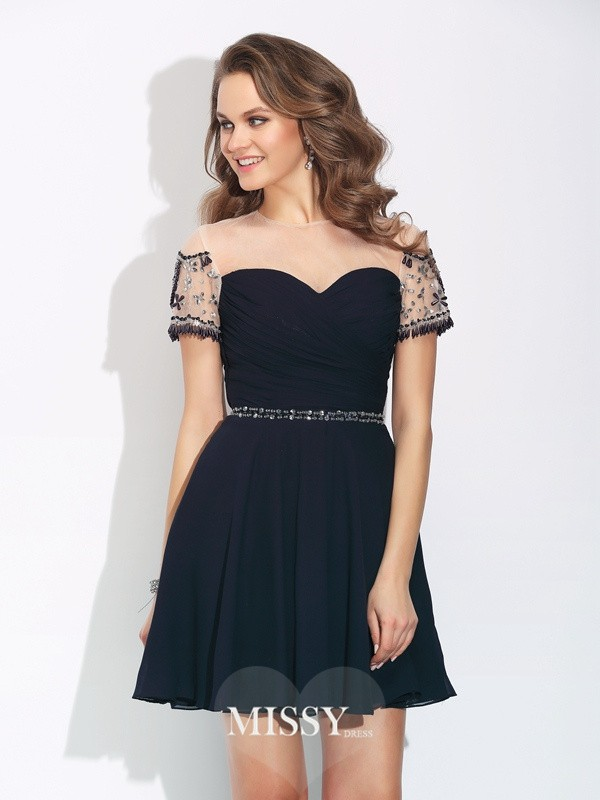 A-Line/Princess Short Sleeves Jewel Beading Short Chiffon Dresses