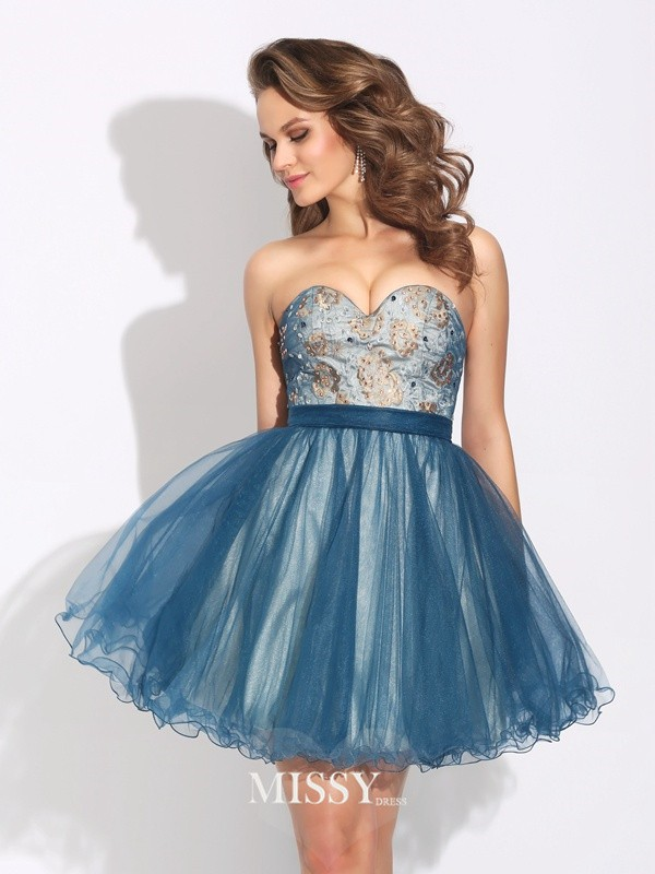 A-Line/Princess Sweetheart Ruffles Short/Mini Net Dresses
