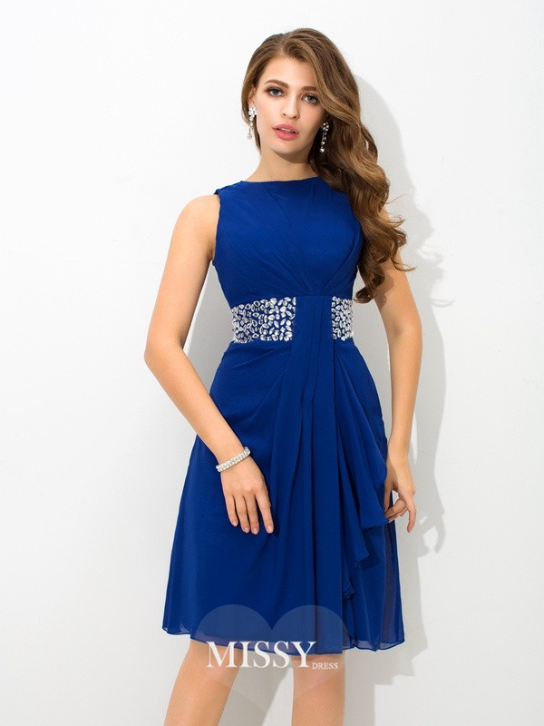 A-Line/Princess High Neck Beading Knee-Length Chiffon Cocktail Dresses