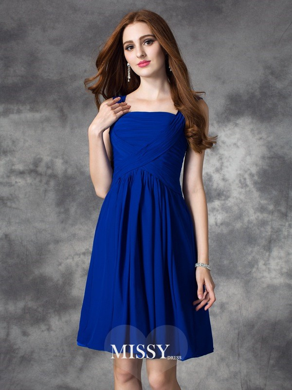 A-line/Princess Square Sleeveless Ruffles Mini Chiffon Dresses