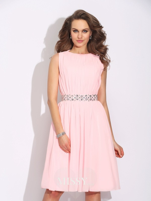 A-Line/Princess Jewel Ruffles Knee-Length Chiffon Dresses