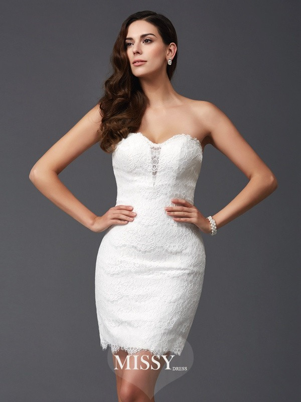 Sheath/Column Sweetheart Sleeveless Lace Short Dresses