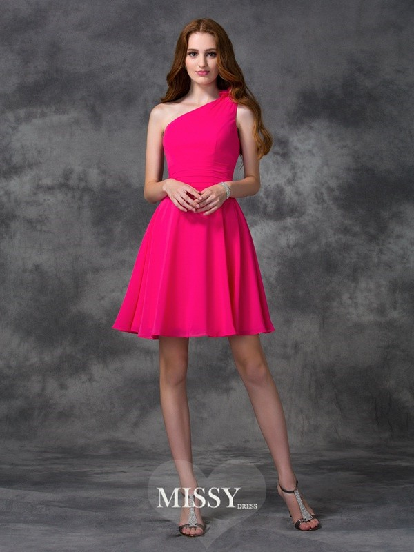 A-line/Princess One-Shoulder Hand-Made Flower Short/Mini Chiffon Dresses