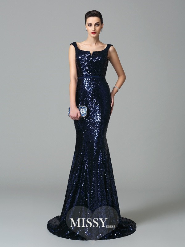 Trumpet/Mermaid Straps Sweep/Brush Train Sequins Dresses