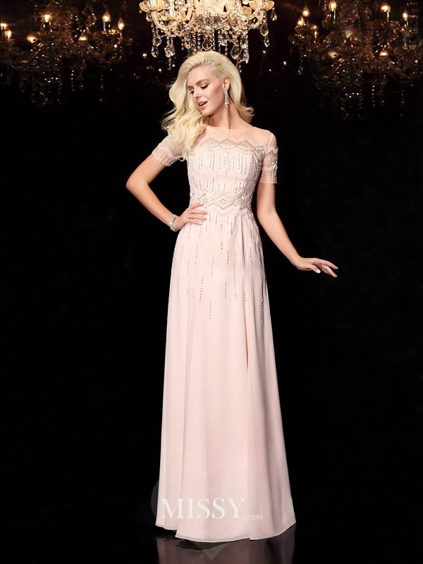 A-Line/Princess Bateau Short Sleeves Floor-Length Chiffon Dresses