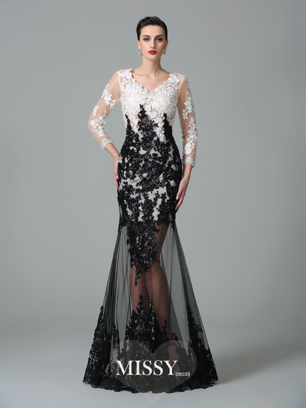 Column V-neck 3/4 Sleeves Lace Floor-Length Net Dresses