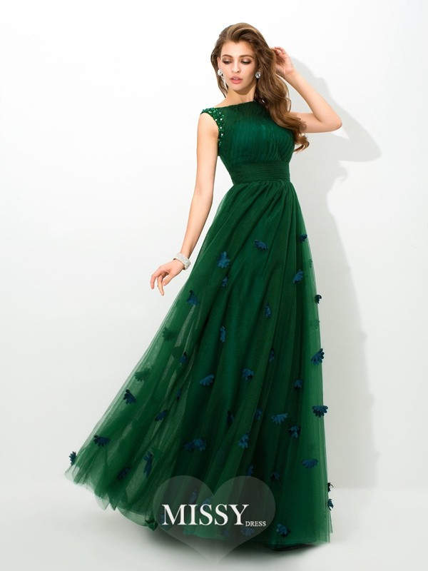 A-Line/Princess Sheer Neck Beading Floor-Length Net Dresses