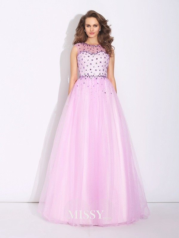 A-Line/Princess Jewel Sleeveless Floor-Length Net Dresses