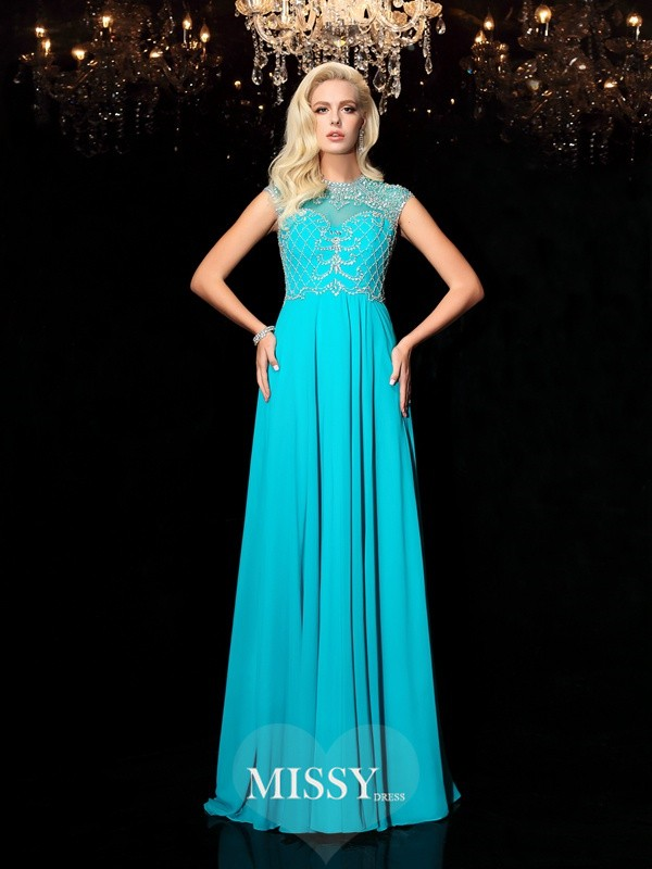 A-Line/Princess Jewel Short Sleeves Floor-Length Chiffon Dresses