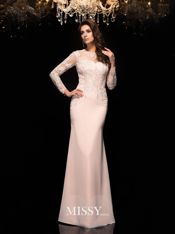 Sheath/Column Sheer Neck 3/4 Sleeves Floor-Length Chiffon Dresses