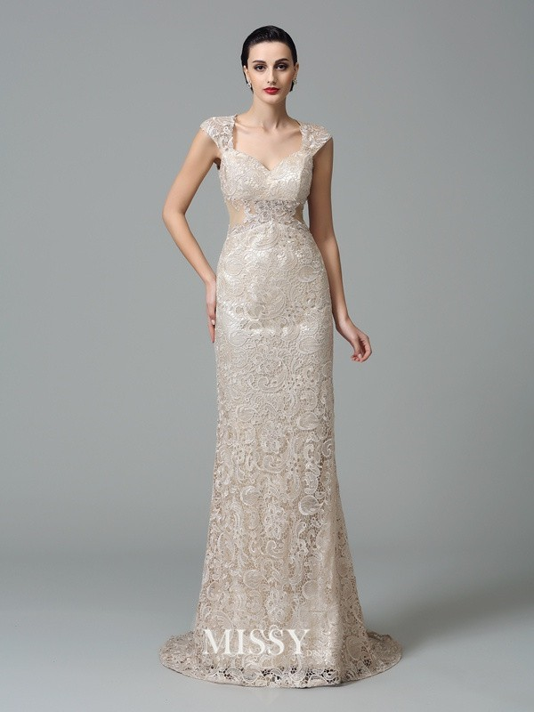 Sheath/Column Straps Sleeveless Sweep Lace Dresses