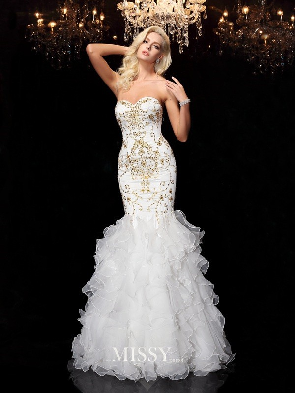 Trumpet/Mermaid Sweetheart Beading Floor-Length Organza Dresses