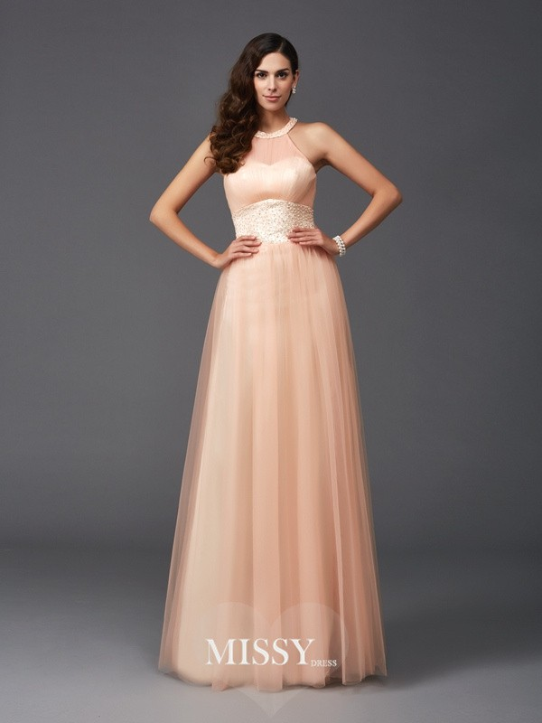 Princess Halter Sleeveless Beading Net Floor-Length Dresses