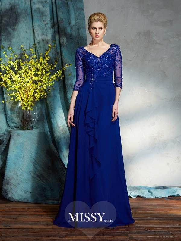 A-Line/Princess V-neck 3/4 Sleeves Sequin Chiffon Floor-Length Mother of the Groom Dresses