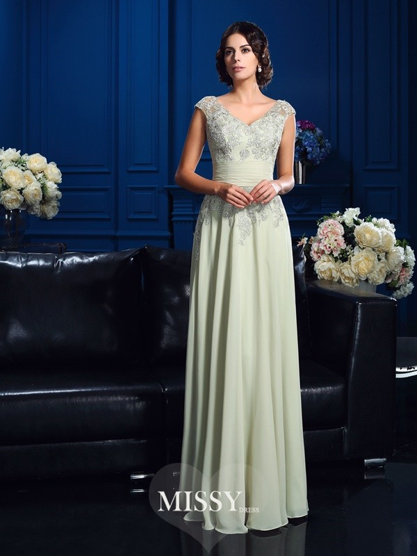 A-Line/Princess V-neck Sleeveless Applique Floor-Length Chiffon Mother Dresses