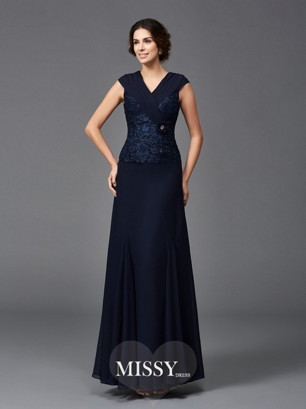 A-Line/Princess Straps Sleeveless Lace Ankle-Length Chiffon Mother of the Groom Dresses