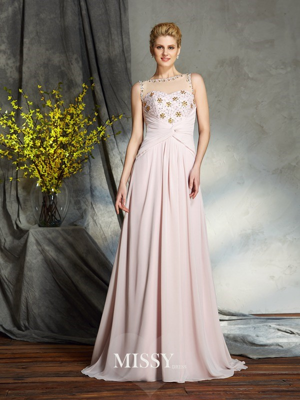 A-Line/Princess Bateau Sleeveless Chiffon Sweep/Brush Train Mother of the Groom Dresses