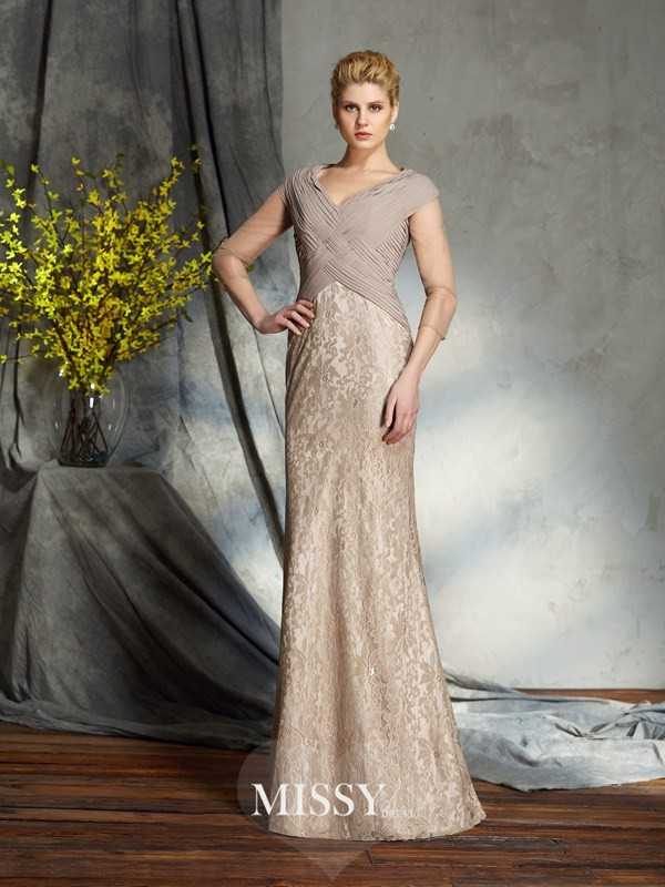 Sheath/Column V-neck 3/4 Sleeves Chiffon Floor-Length Mother of the Groom Dresses