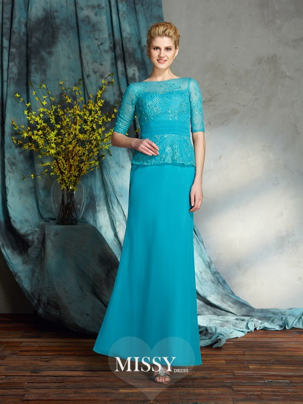 Sheath/Column Bateau 1/2 Sleeves Chiffon Floor-Length Mother of the Groom Dresses