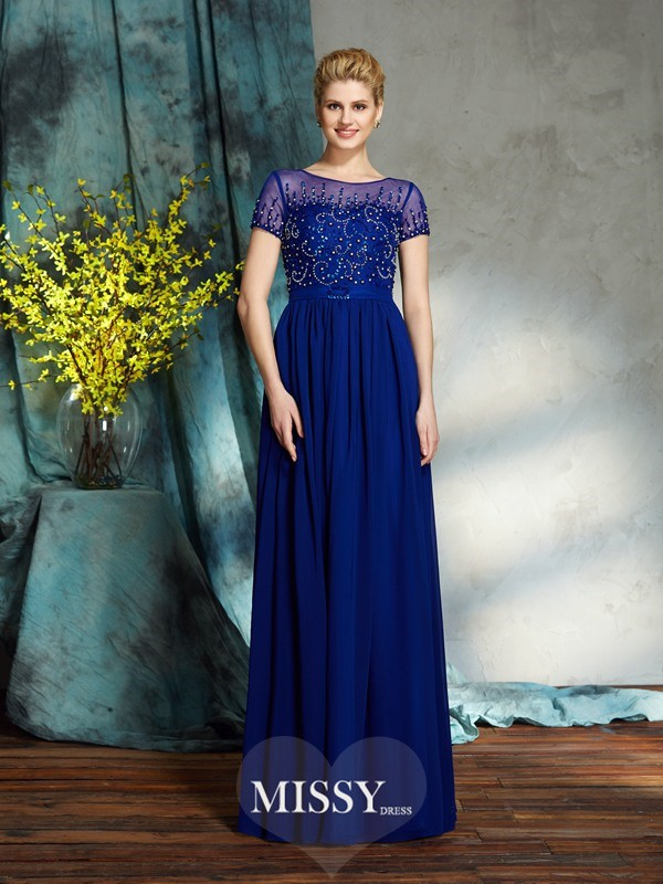 A-Line/Princess Scoop Short Sleeves Beading Chiffon Floor-Length Mother of the Groom Dresses