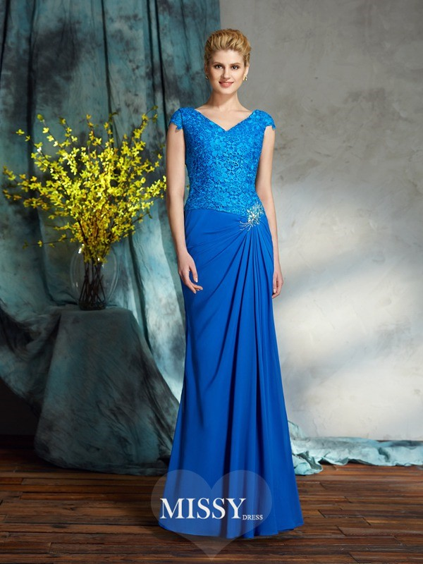 Sheath/Column V-neck Short Sleeves Lace Chiffon Floor-Length Mother of the Groom Dresses