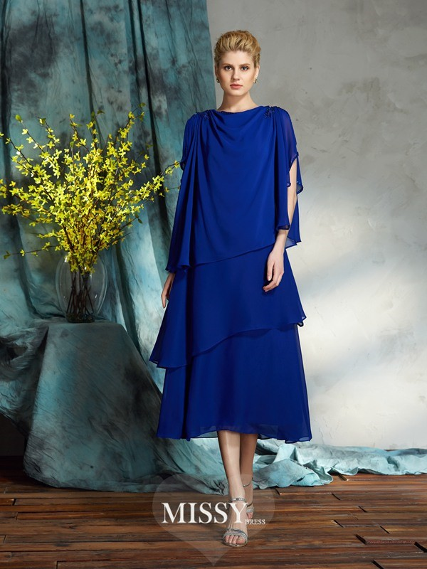 A-Line/Princess Bateau Sleeveless Chiffon Knee-Length Mother of the Groom Dresses