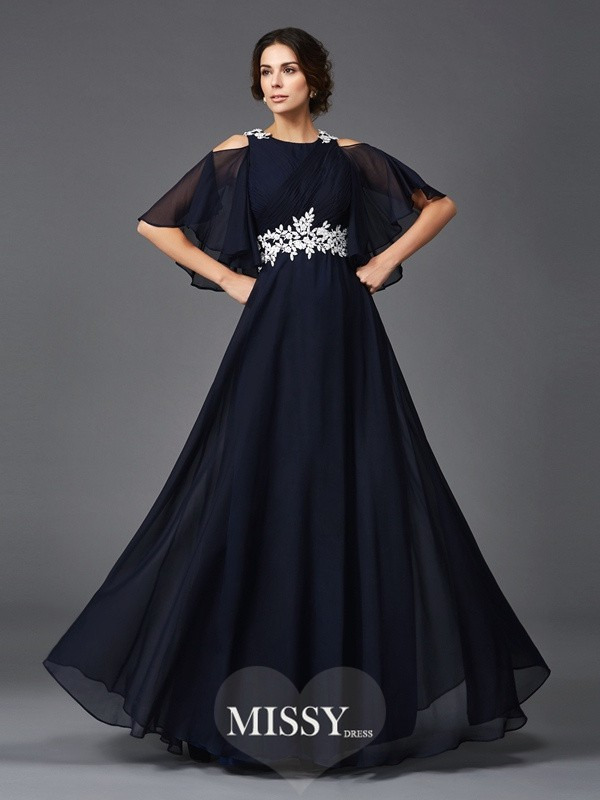 A-Line/Princess Straps 1/2 Sleeves Applique Floor-Length Chiffon Mother of the Groom Dresses