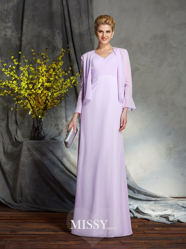 Sheath/Column Sleeveless V-neck Chiffon Floor-Length Mother of the Groom Dresses