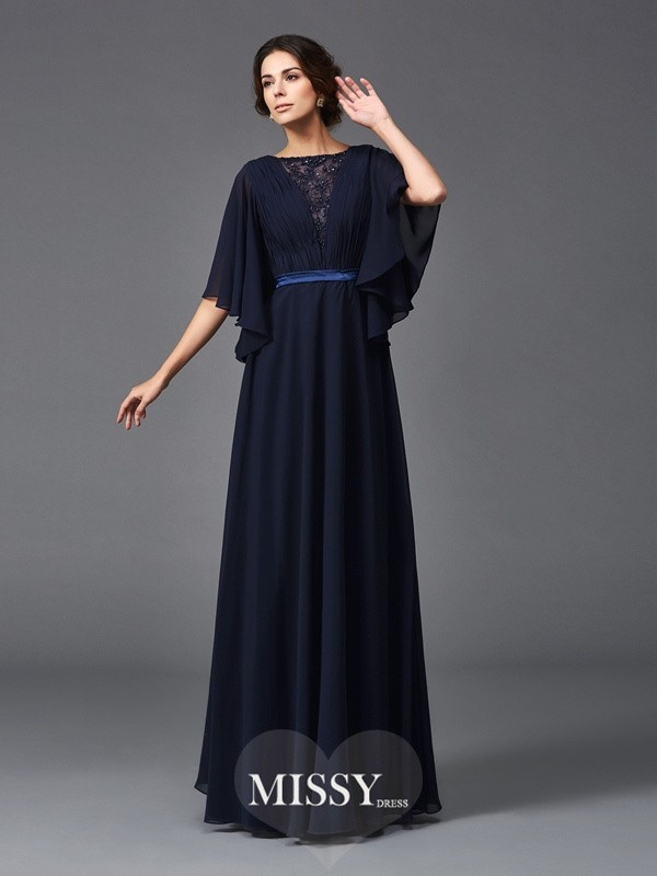 A-Line/Princess Scoop 1/2 Sleeves Beading Floor-Length Chiffon Mother of the Groom Dresses