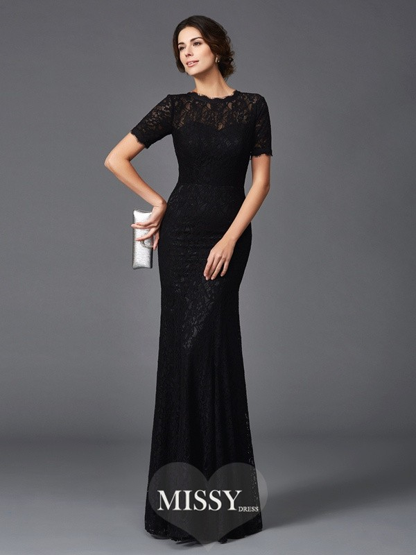 Sheath/Column Lace Short Sleeves Jewel Floor-Length Elastic Woven Satin Mother of the Groom Dresses